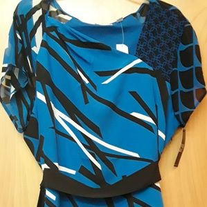 New York and Company Blue Black pattern dress NWT